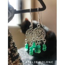 Emerald filigree earrings