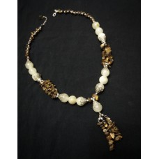 Tiger`s eye and marble agate necklace