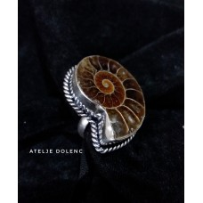 Silver fossil ring size 18